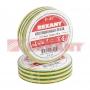Изолента 15мм х 10м желто-зеленая REXANT (Цена за шт, в уп 10 шт)