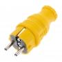 Вилка прямая влагозащищенная, c/з, 16А. IP44, каучук желтая REXANT