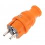 Вилка прямая влагозащищенная, c/з, 16 А, IP44, каучук оранжевая REXANT