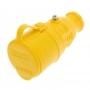 Розетка переносная влагозащищенная с крышкой, с/з, 16 А, IP44, каучук желтая REXANT