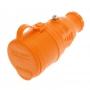 Розетка переносная влагозащищенная с крышкой, с/з, 16 А, IP44, каучук оранжевая REXANT
