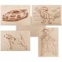 Доски для выжигания REXANT, «Набор №1» (воин/динозавр/собака/машина/без рисунка), 148х210 мм (А5), 5 шт., пакет