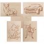 Доски для выжигания REXANT, «Набор №2» (воин/динозавр/собака/машина/без рисунка), 148х210 мм (А5), 5 шт., пакет