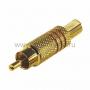 Разъем штекер RCA Металл под винт Черные/Красные GOLD (100шт) REXANT