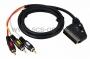 Шнур SCART Plug - 3RCA Plug с переключателем 1.5М (GOLD)(круглый кабель) REXANT (Цена за шт., в уп. 10 шт.)