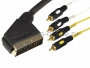Шнур SCART Plug - 4RCA Plug 1.5М (GOLD) REXANT (Цена за шт., в уп. 10 шт.)