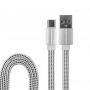 USB кабель USB Type-C, белый текстиль, 1 метр (плоский шнур) REXANT