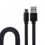 USB кабель USB Type-C, черный текстиль, 1 метр (плоский шнур) REXANT