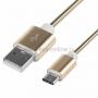 Шнур USB 3.1 type C (male)-USB 2.0 (male) в гибкой металлической оплетке (золото) 1 м