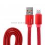 USB кабель для iPhone 5/6/7/8/Х моделей шнур ткань плоский 1М красный