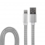USB кабель для iPhone 5/6/7/8/X моделей, белый текстиль, 1 метр (плоский шнур) REXANT