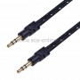 Аудио кабель AUX 3. 5 мм шнур плоский в тканевой оплетке 1M черный