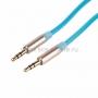Аудио кабель AUX 3. 5 мм фосфорный 1M голубой