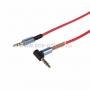 Аудио кабель 3,5 мм штекер-штекер угловой, металлические разъемы, 2М красный