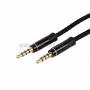 Аудио кабель AUX 3.5 мм в тканевой оплетке 1M черный (4 pin)