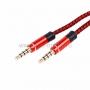 Аудио кабель AUX 3.5 мм в тканевой оплетке 1M красный (4 pin)