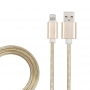 USB кабель для iPhone 5/6/7/8/X моделей, золото металл, 1 метр REXANT