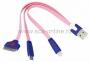 USB кабель 3 в 1 светящиеся разъемы для iPhone 5/4/microUSB шнур 0.15М розовый