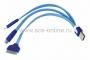 USB кабель 3 в 1 светящиеся разъемы для iPhone 5/4/microUSB шнур 0.15М синий