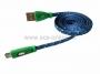 USB кабель светящиеся разъемы для iPhone 5/6/7 моделей шнур шелк плоский1М синий