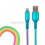 USB кабель для iPhone 5/6/7/8/X моделей, шнур текстиль, разноцветный, 1 м RAINBOW