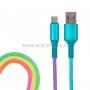 USB кабель micro USB, шнур текстиль, разноцветный RAINBOW