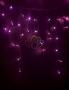 Гирлянда Айсикл (бахрома) светодиодный, 2,4 х 0,6 м, прозрачный провод, 220В, диоды розовые Neon-Night