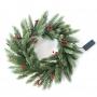 Еловый венок с ягодами и гирляндой NEON-NIGHT O 45 см, 20 LED, 2 х АА, литой, теплое белое свечение