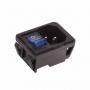Выключатель клавишный 250V 10А (4с) ON-OFF синий с подсветкой и штекером C14 3PIN  (RWG-112)  REXANT (уп10шт)
