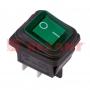 Выключатель клавишный 250V/15А (4с) ON-OFF зеленый с подсветкой влагозащита (RWB-507)(Цена за шт.,в уп.10шт.)