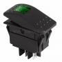 Выключатель клавишный 24V 35А (4с) ON-OFF зеленый с подсветкой  REXANT (уп10шт)