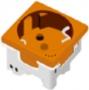 Розетка 220В 2к+З, 45х45мм, оранжевая
