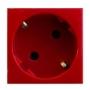 Розетка 220В 2к+З, 45х45мм, красная