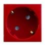 Розетка 2к+З с защитными шторками (45х45), красная