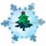 """""""Елочка на снежинке"""" RGB на присоске 9,5*9,5 см"""