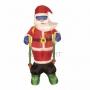 """3D фигура надувная """"Дед мороз на лыжах"""", размер 180 см, внутренняя подсветка 2 лампы, компрессор с адаптером 12В, IP 44 Neon-Night"""