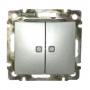 Выключатель 2-х клавишный 10A с подсветкой Алюминий Valena