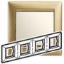 Рамка 4п горизонтальная матовое золото Valena