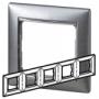 Рамка 5п горизонтальная алюминий матовый Valena
