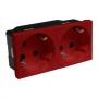 Розетка электр. 2Х2К с зазем., н.ст. 45° с блокировкой красная Mosaic