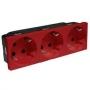 Розетка электр. 3Х2К с зазем., н.ст. 45° с блокировкой красная Mosaic