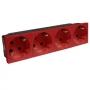 Розетка электр. 4Х2К с зазем., н.ст. 45° с блокировкой красная Mosaic