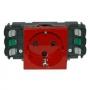 Розетка электр. 2К с зазем. DLP с блокировкой безвинтовой зажим красная Mosaic