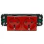 Розетка электр. 2Х2К с зазем. DLP с блокировкой безвинтовой зажим красная Mosaic