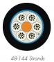 Кабель волоконно-оптический XGLO 50/125 (OM3) многомодовый, 144 волокна, loose tube, внутренний/внешний, LSOH3C (IEC 60332-3), -40°C - +60°C, черный Siemon
