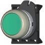 DKC / ДКС ABDLM2C Кнопка плоская с фиксацией, зеленая прозрачная - серия Хром