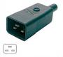 Разъем IEC 60320 C20 220В 16A на кабель, контакты на винтах (плоские выступающие штыревые контакты в пластиковом обрамлении), прямой Hyperline