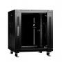 """Шкаф телекоммуникационный 19"""" напольный 12U 600x600x730mm (ШхГхВ) передняя стеклянная и задняя сплошная металлическая двери, ручка с замком, цвет черный (RAL 9004)"""