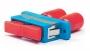 Проходной адаптер ST-SC duplex, SM (для одномодового кабеля), корпус пластмассовый, (синий) Hyperline