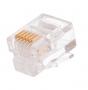 Коннектор NETLAN RJ12/6P6C под витую пару, Кат.3 (Класс C), 16МГц, покрытие 3мкд, универсальные ножи, для проводников 0,40-0,45мм, неэкранированный, уп-ка 1000шт.
